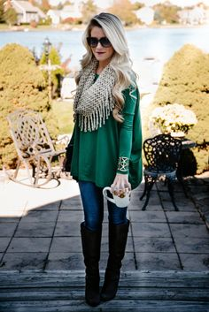Loose comfy emerald green tunic top with fab fringed scarf, jeans and boots. Love it!