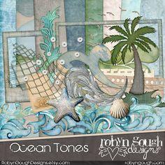 Beach Digital Scrapbooking Kit - Ocean Tones clipart - Swimming Beach & Summer by Robyn Gough Designs on Etsy