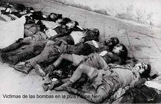 Imagen de las víctimas, en su mayoría niños (alumnos de la escuela Sant Felip Neri) tras el intenso bombardeo por parte de la aviación franquista el 30 de enero de 1938 (Guerra Civil Española).