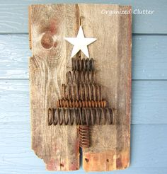 Salvaged, Rusty, Industrial Spring & Barn Wood Christmas Tree
