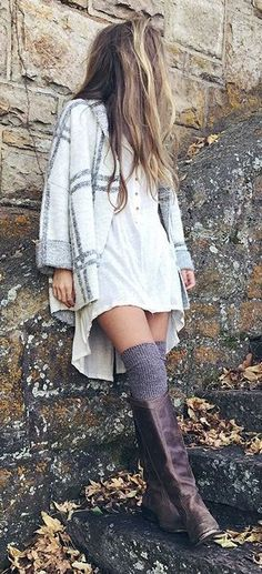 #winter #fashion / tartan coat + boots