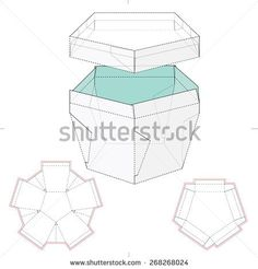 Pentagonal Box with Lid and Die Cut Template
