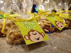 Loot Bags and Party Favours - monkey theme birthday  mix nuts, dry banana, M&M