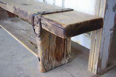 Vintage Door Headboard & Foot board and Barnwood Bench This Queen bed frame is part of the ...