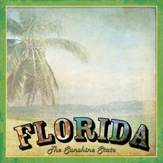 Scrapbook Customs - Vintage Label Collection - 12 x 12 Paper - Florida Vintage