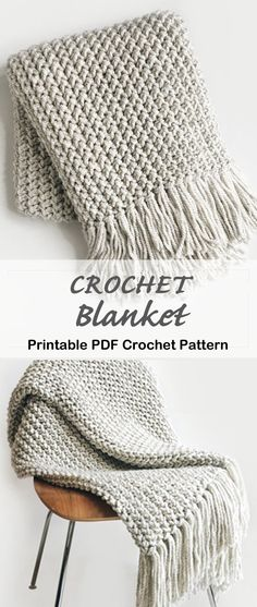 Crochet blanket pattern - crochet afghan pattern - crochet throw pattern - A Crafty Life Looking for some cozy Crochet Blanket Patterns to try? There are lots of different patterns from modern throws to traditional granny stitch, something for everyone. Crochet Afghans, Crochet Throw Pattern, Afghan Crochet Patterns, Knit Or Crochet, Learn To Crochet, Crochet Crafts, Crochet Stitches, Crochet Projects, Knitting Patterns