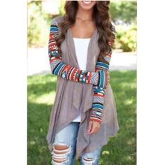 ❗️1 HOUR SALE❗️Aztec Sleeve Cardigan- mocha Lightweight open front cascading cardigan with aztec print sleeves. Please DO NOT purchase this listing. Comment your size below & I will make a new listing for you. Boutique Sweaters Cardigans