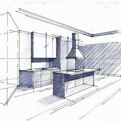Croquis de principe en phase d'Avant Projet Sommaire : Cuisine minimaliste par Philippe Ponceblanc Architecte d'intérieur