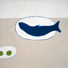 William Scott, [Blue Fish on a Plate], 1978, Oil on canvas, 92 × 91.6 cm / 36¼ × 36 in, Private collection