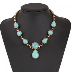 Ethnic Teardrop Faux Turquoise Necklace - $6.32