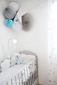 chambre-bedroom-bebe-baby-nursery-decoration-fille-garcon-mixte-deco-inspo-inspiration-rangement-astuce-table-a-langer-lit-commode-customisation-roomtour-tipi-gris-bleu-rose-grey-blue-pink-blanc-white rnrnSource by marismylne Baby Girl Nursery Decor, Baby Boy Rooms, Baby Boy Nurseries, Baby Decor, Nursery Room, Kids Decor, Baby Room, White Nursery, Blue Bedroom