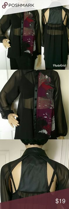 "Bisou Bisou Sheer Blouse w/Faux Leather Cutouts Gorgeous and in excellent gently pre-owned condition. High-low hemline. Faux leather with back cutouts. Just loaded with details!! Fancy buttons! Measures 16"" pit to pit laying flat"" Bisou Bisou Tops Blouses"