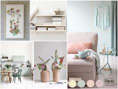 Een interieur met poedertinten en pastelkleuren, moodboard, colourinspiration, styling ideas, pastels, pastelkleuren, pastel interior, pastel interieur, blog voor Showhome