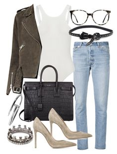 """Untitled #20277"" by florencia95 ❤ liked on Polyvore featuring RE/DONE, Ace, B-Low the Belt, AllSaints, Yves Saint Laurent, Gianvito Rossi and Loree Rodkin"