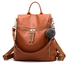 Simple Fashion Backpack Women Leather Backpacks For Teenage Girls School Bags Vintage Solid Black Shoulder Bag mochila Outfit Accessories From Touchy Style. Brown Backpacks, Girl Backpacks, Leather Backpacks, Sling Backpack Purse, Leather Backpack Purse, Shoulder Bags For School, School Bags For Girls, Black Shoulder Bag, Fashion Backpack