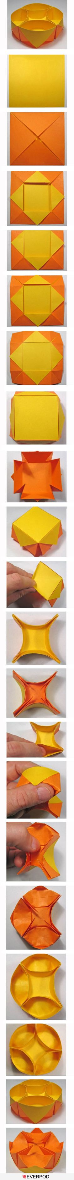 "No written directions for this origami ""snack"" bowl, but it's pretty easy to figure out. Use at least a sheet of 8 1/2 X 11 inch paper"