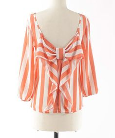 Loving this Coral & White Bow-Back Boatneck Top on #zulily! #zulilyfinds