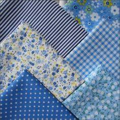 Набор тканей из 6 лоскутов, 100% хлопок, голубой