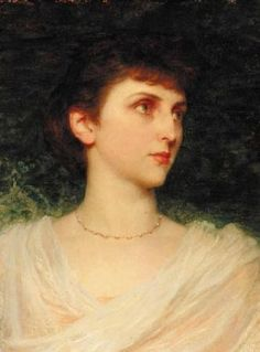 Sir Francis Dicksee - Portrait of Maude Moore, Sir Frank Dicksee (British, Frank Dicksee, Dante Gabriel Rossetti, Sir Francis, Victorian Pictures, Impressionist Landscape, English Artists, Head & Shoulders, Pre Raphaelite, Historical Art