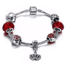 Beautiful Blue Or Red Crown Charm Bangle Bracelets On Stainless Steel Band