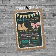 Military gender reveal invitation boots or bows lace cowboy burlap bunting…