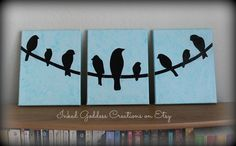 Birds on a Wire Silhouette Triptych, Paper on Canvas Art