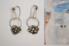 Rough raw earrings-Sterling silver-Boho by AnnakramaJewelry