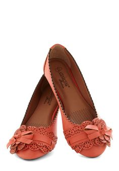 A Tribute to Archi-texture Flat in Tangelo - Coral, Solid, Bows, Flower, Scallops, Flat, Cutout, Work, Casual, Daytime Party, Faux Leather, Variation