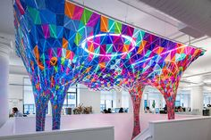 SOFTlab Creates a Stained Glass Sculpture for the Behance Headquarters: Stained glass meets the Internet age in this eye-catching installation. Architecture Design, Architecture Magazines, Pavilion Architecture, Organic Architecture, Stained Glass Art, Stained Glass Windows, Fused Glass, Design Adidas, New York Office