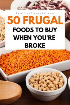 50 Cheap Foods to Buy to Save Money Cutting your food budget is needed when you are working on your finances. Find out 50 cheap foods you can buy to save money. This listing of cheap foods can help you cut your grocery bill. Includes cheap meals and cheap Frugal Meals, Budget Meals, Easy Meals, Food Budget, Frugal Recipes, Inexpensive Meals, Freezer Meals, Simple Meals, Snacks On A Budget