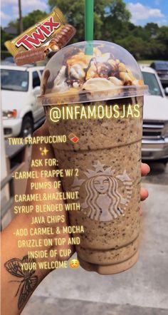 If you're gonna repost TAG ME starbucks drink Twix Frappuccino 🍫✨IG: Infamousjas Starbucks Hacks, Bebidas Do Starbucks, Secret Starbucks Recipes, Iced Starbucks Drinks, How To Order Starbucks, Starbucks Secret Menu Drinks, Starbucks Coffee, Coffee Frappuccino, Coffee Coffee