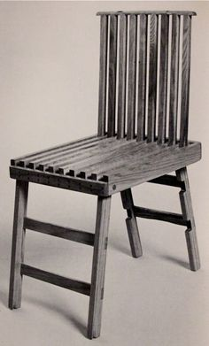 """Folding Chair  Ralph W. Henninger  Fortuna, California  1975  Finalist in the   International Chair Design Competition  of 1977  From:  """"Innovative Furniture in America   from 1800 to the present""""  by David A. Hanks  1981"""