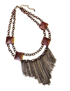 Fringed Chunky Choker with Studs & Layered Chains, Boho Chic Statement Necklace, Big Bold Chunky Necklaces