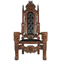 Toscano, AF51207, Chairs, Toscano Af51207 Lord Raffles Throne W Faux Black Leather