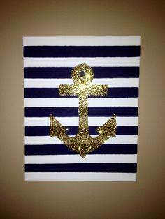 Hand Painted Striped and Gold Glitter Anchor Canvas, Wall Art, Nautical, Decor Diy Wall Art, Diy Art, Anchor Canvas, Nautical Canvas, Cuadros Diy, Craft Projects, Projects To Try, Diy And Crafts, Arts And Crafts