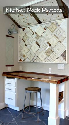 Kitchen Nook Remodel... love the texture in this space
