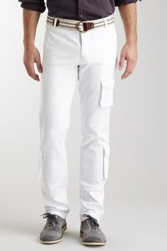 White Slim Fit Cargo Pant by Huyton Union on @HauteLook