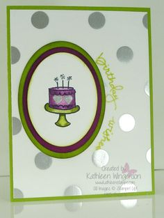 Love the heart designs on the cake and the curved sentiment around the oval. Endless Birthday Wishes by tyque - Cards and Paper Crafts at Splitcoaststampers
