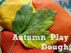 Fall Preschool Sensory Fun:  Play Dough Leaf Prints