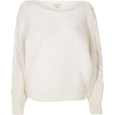 I'm shopping Cream tied sleeve knit jumper in the River Island iPhone app.