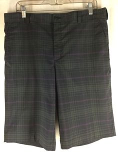 EUC MENS NIKE GOLF BLACK PURPLE PLAID FLAT FRONT GOLF SHORTS 34 #NIKEGOLF…