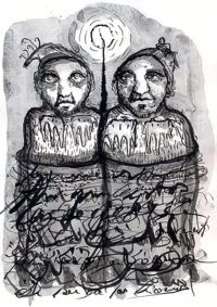 The Double#Ink and toner wash on paper#Bilal Dadou#drawing#esoteric#psicology#berber#mystic#tipography#berber#northafrican#archtyp