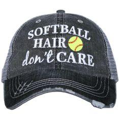 Softball Hair Dont Care Trucker Hat