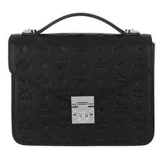 370dbfb69 Entdecke MCM Patricia Embossed Leather Satchel Bag Medium Black