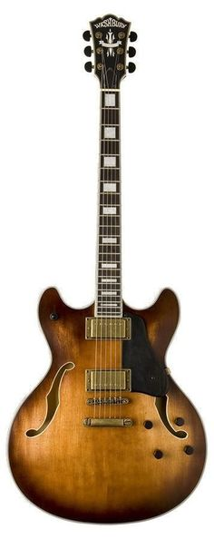 Washburn HB36K Overview Hollowbody guitars are typically lighter and more resonant than their solid body counter parts. This gives a somewhat mellower tone to the guitar making it well suited to Jazz, Blues or Rock. The HB36 Vintage features a double cutaway and includes a solid maple block in the center, increasing sustain and reducing susceptibility to feedback in high volume situations. Deluxe features include distressed gold hardware, Rosewood fingerboard, ebony pickguard and knobs…
