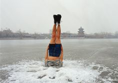 Li Wei 李日韦 - Li Wei falls to the Ice hole 044-01, 2004, photo, 70.57x100cm,120x170cm. <BR>李日韦 - 撞入冰窟044-01, 2004, 照片, 70.57x100cm,120x170cm
