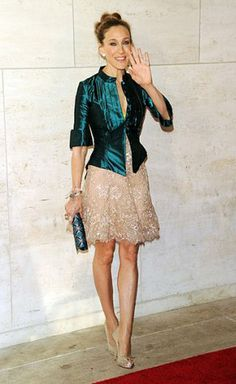 sjp leather moto jacket over girly cocktail dress