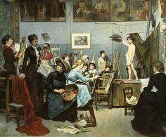 Atelier Julian - The Studio, Marie Bashkirtseff (1858 – 1884, Ukrainian)
