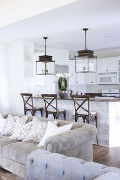 Kitchen Lighting Update Reveal. Farmhouse Style Kitchen with Lantern.