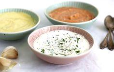 3 healthy homemade sauces- the base is a Greek yogurt- mayonnaise combination